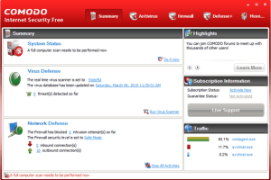Comodo Free Internet Security interface