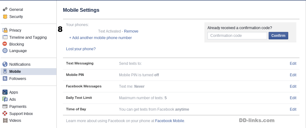 Facebook Mobile Settings