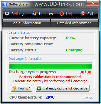 BatteryCare interface