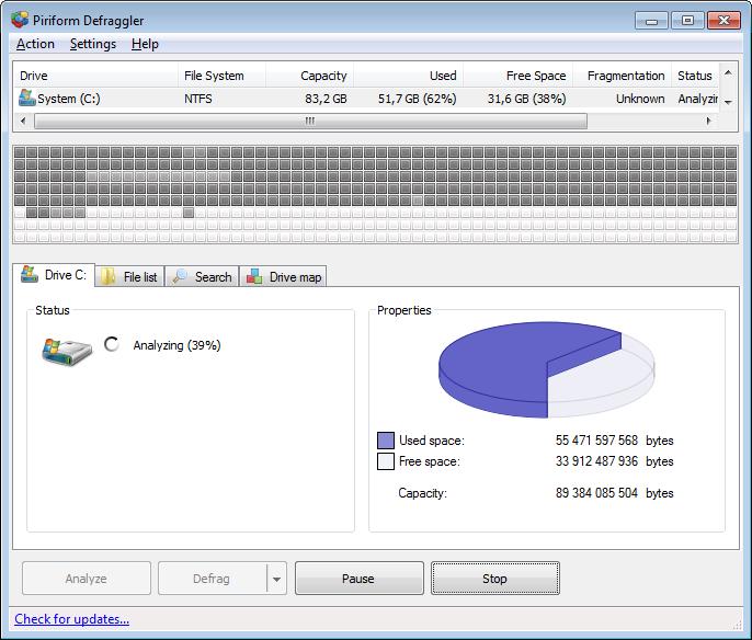 defraggler main interface