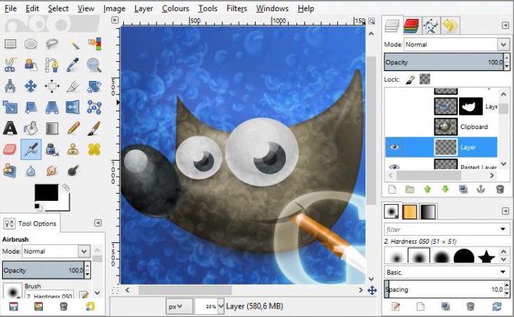 gimp programe interface